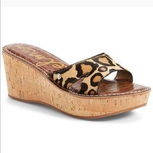 Sam Edelman Cheetah Reid Calf Hair Sandal Wedges